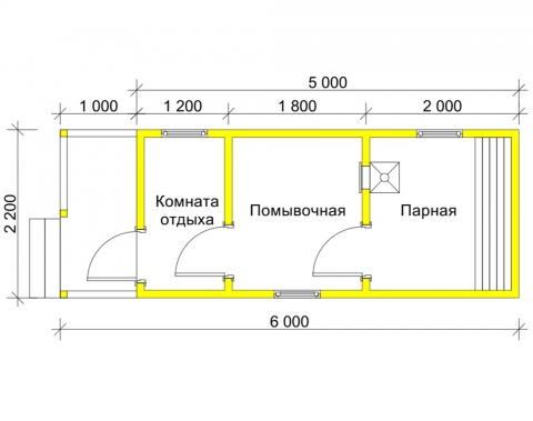 Баня 2.2x5 с верандой