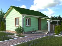 Дачный дом 4х6 с крыльцом 2х3