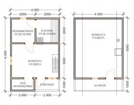 Баня 4x6 Два этажа