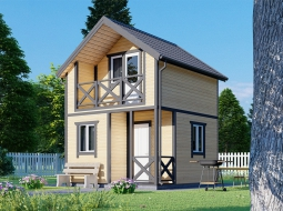 Дачный дом 2-х. эт. 4х4 с крыльцом и балконом