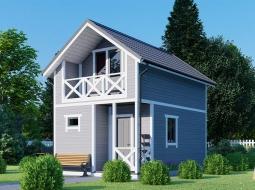 Дачный дом 2-х. эт. 4х6 с крыльцом и балконом